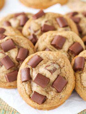 close up image of Mocha Chocolate Chunk Cookies