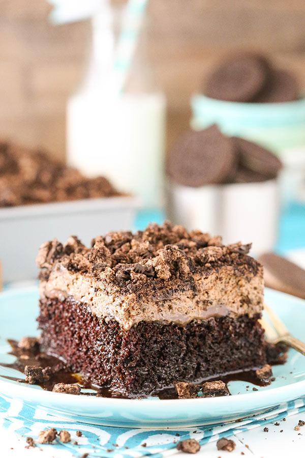 Oreo Chocolate Poke Cake slice