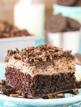 close up image of Oreo Chocolate Poke Cake