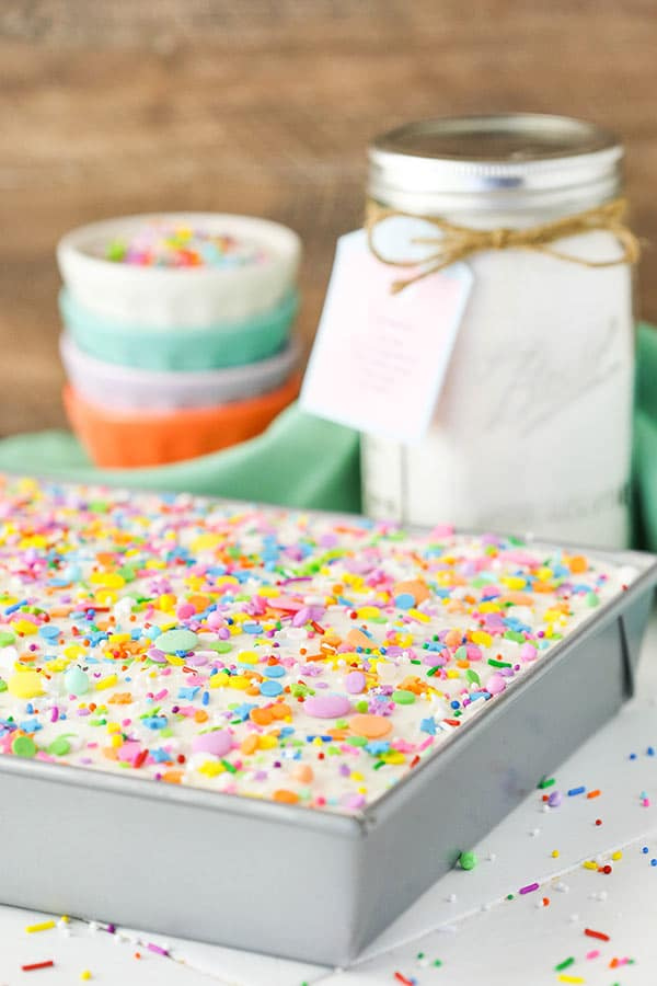 Homemade Vanilla Cake Mix in pan