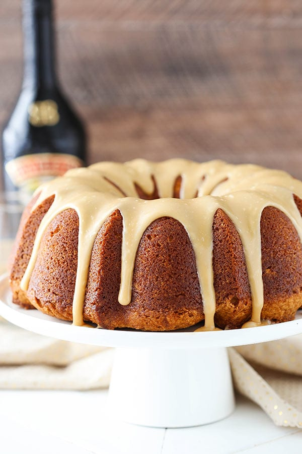 Caramel Baileys Pound Cake displayed