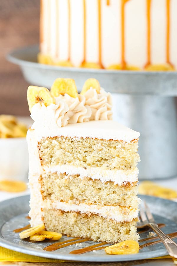 Caramel Banana Layer Cake! Moist banana cake covered with caramel sauce and caramel frosting!