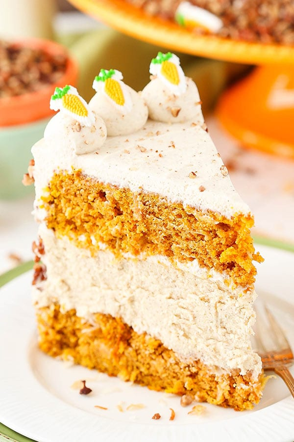 Carrot Cake Cheesecake Cake - layers of moist carrot cake and cinnamon cheesecake! A great dessert for Easter!