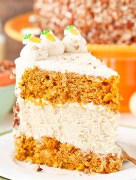 slice of Carrot Cake Cheesecake Cake