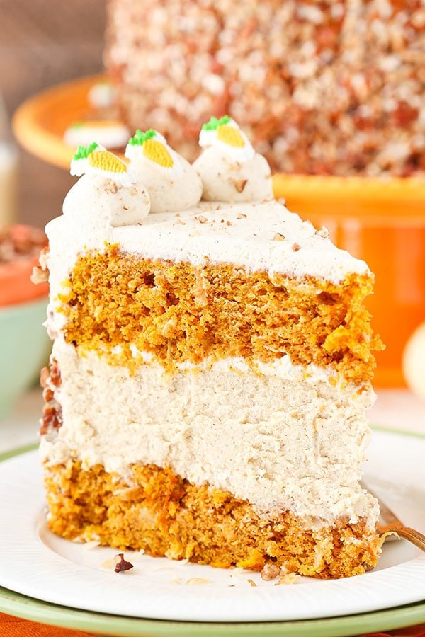 Image of a Big Slice of Carrot Cake Cheesecake Cake