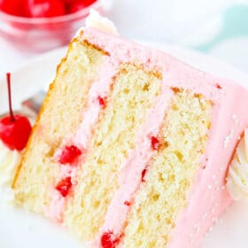 slice of Cherry Almond Layer Cake