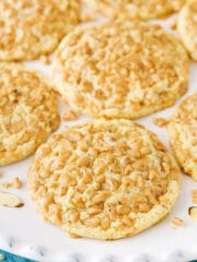 Toffee Almond Cookies on plate