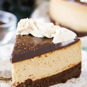 slice of Kahlua Coffee Brownie Cheesecake