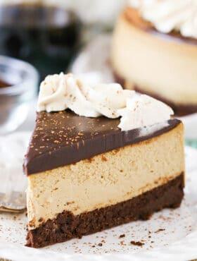 slice of Kahlua Coffee Brownie Cheesecake