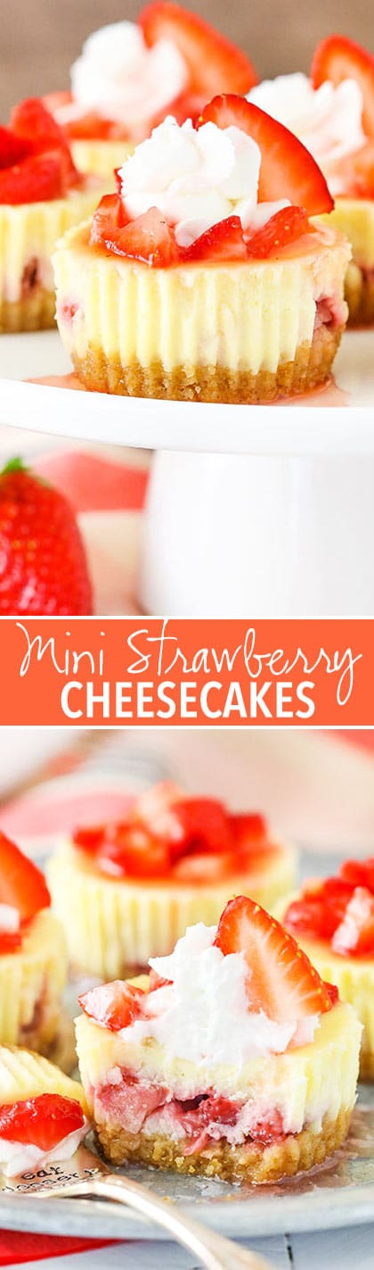 Mini Strawberry Cheesecakes - vanilla cheesecakes full of fresh strawberries!