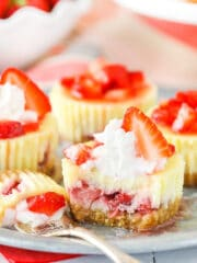 Mini Strawberry Cheesecake cut in half
