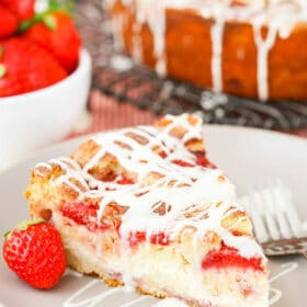 Slice of Strawberry Snack Cake on plate