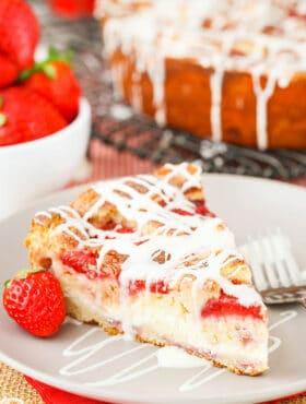 Slice of Strawberry Snack Cake on plate