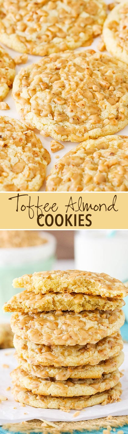 Gluten Free Toffee Almond Cookies - So good you won't even know they're gluten free! Soft and full of flavor!