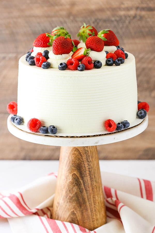 Decorated Berry Mascarpone Cake
