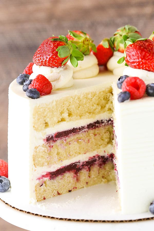 Vanilla Cake With Lemon Raspberry Filling