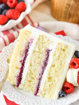 image of Berry Mascarpone Layer Cake on plate