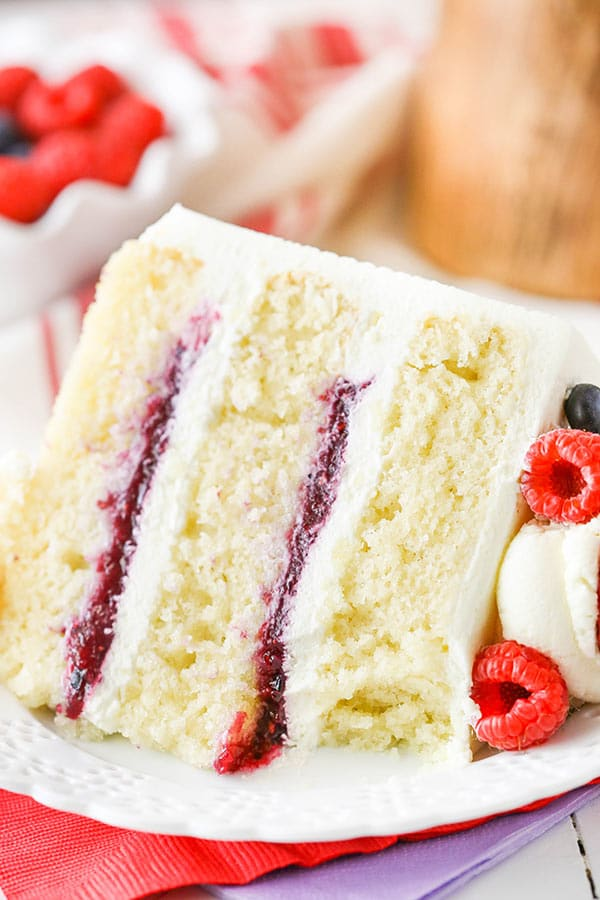 Raspberry Filled White Layer Cake Recipe