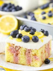 Image of Lemon Blueberry Poke Cake slice