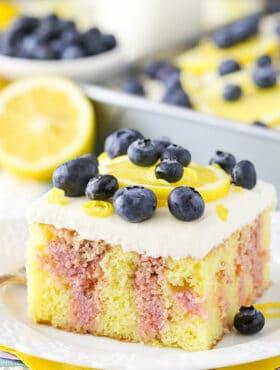 Image of Lemon Blueberry Poke Cake slice