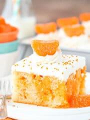 close up image of Orange Creamsicle Poke Cake