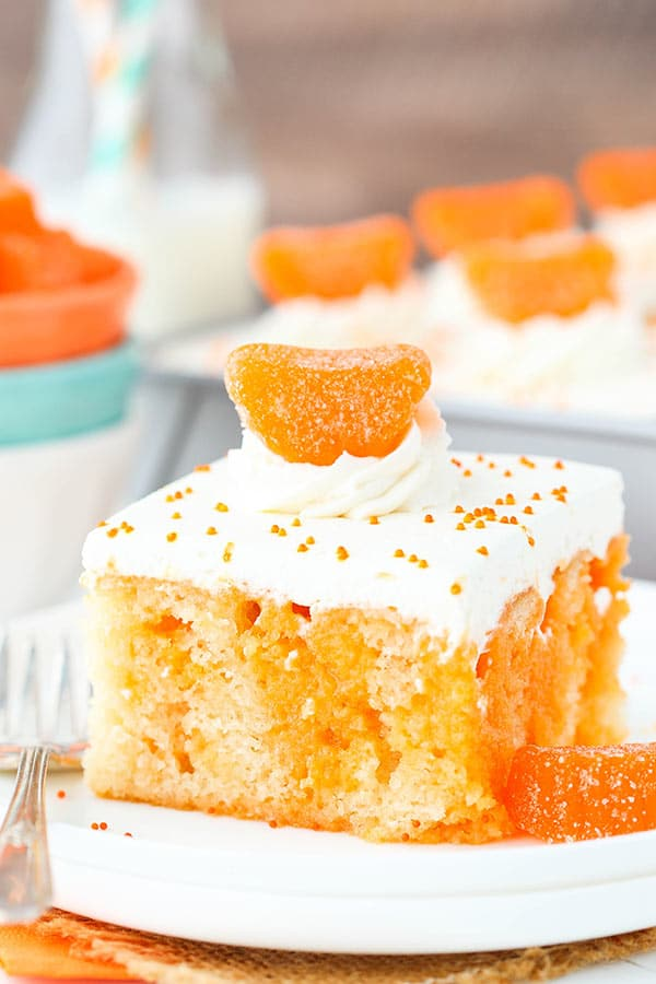 close up image of Orange Creamsicle Poke Cake