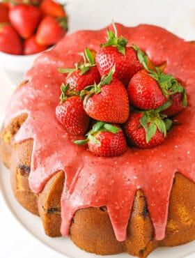 overhead image of Strawberry Pound Cake