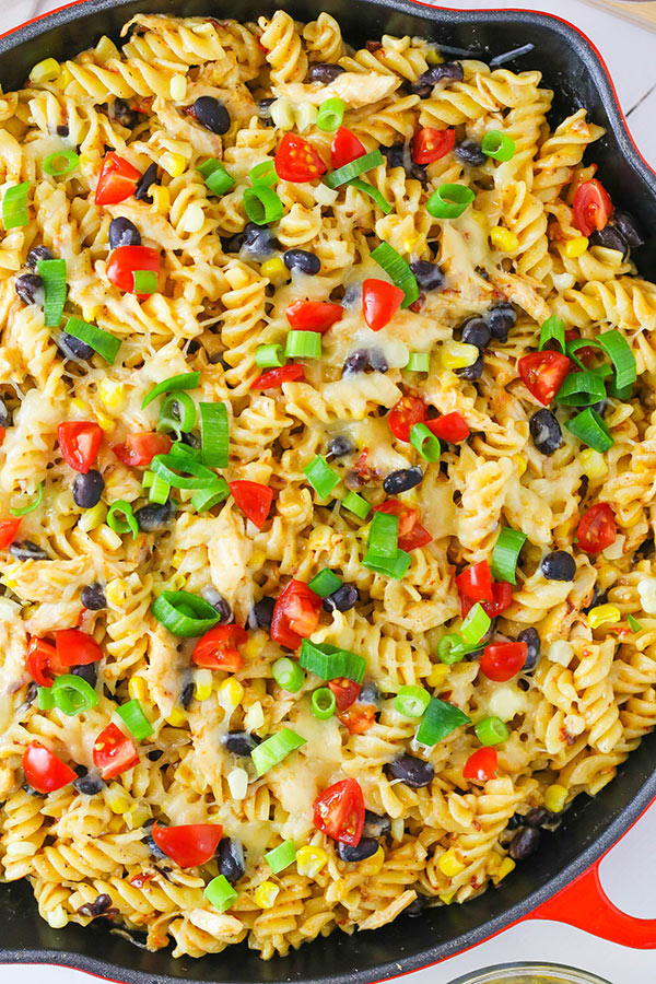 Arizona Chicken Pasta - pasta in chipotle sauce with chicken, black beans, corn and plenty of cheese!