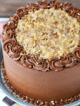 full overhead image of German Chocolate Layer Cake