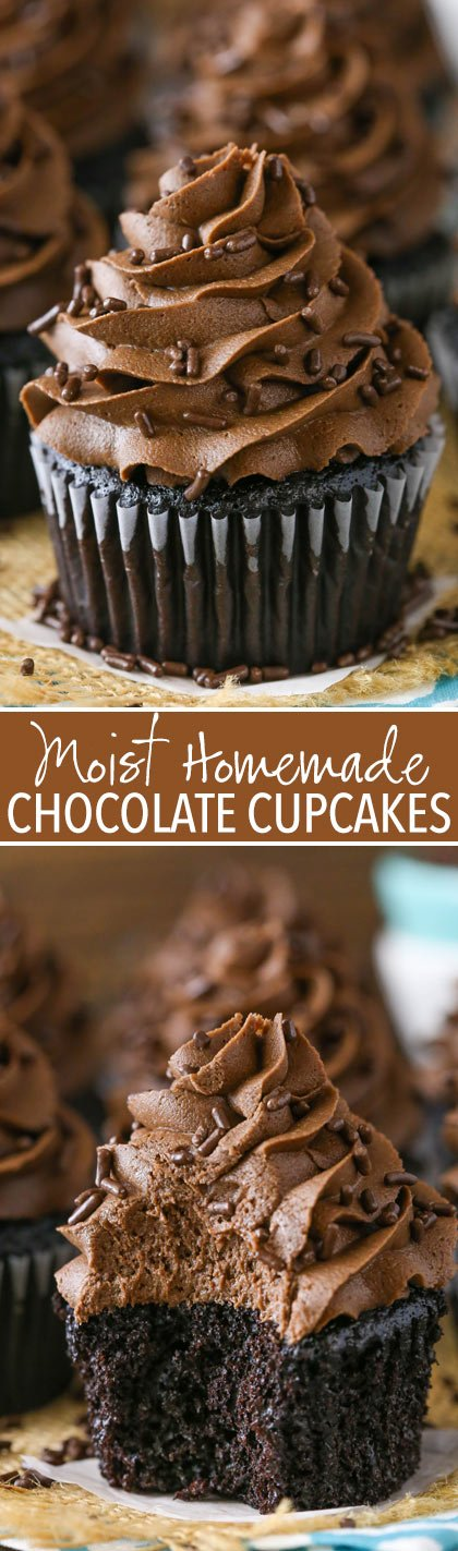 Homemade Moist Chocolate Cupcakes - the best chocolate cupcakes! So moist and full of chocolate!