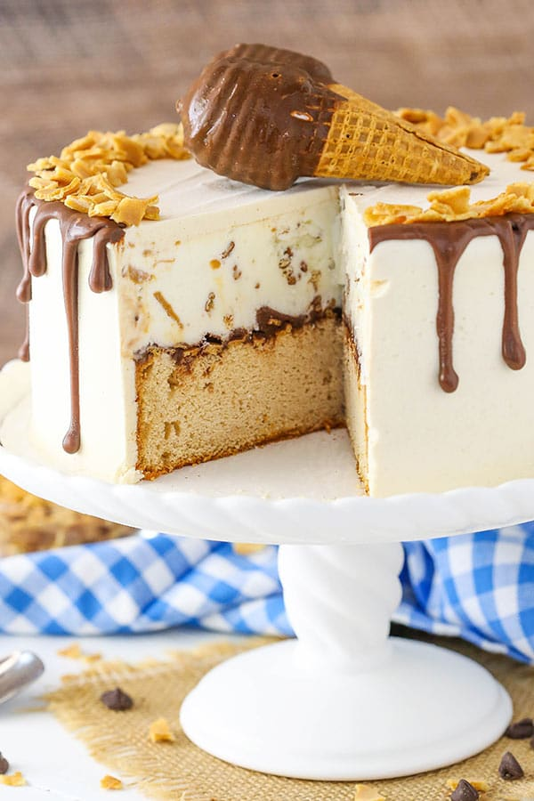 Peanut Butter Chocolate Ice Cream Cone Cake with ice cream
