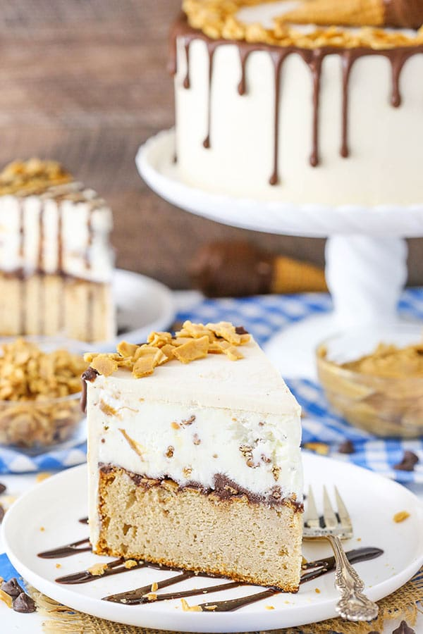 Peanut Butter Chocolate Ice Cream Cone Cake slice