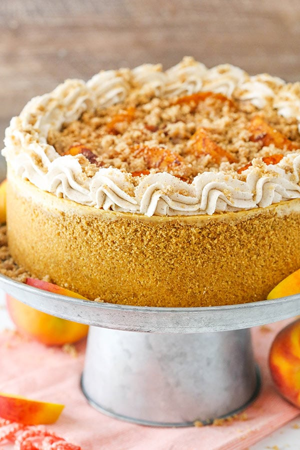 Bourbon Peach Streusel Cheesecake - Life Love and Sugar