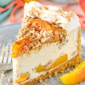Bourbon Peach Streusel Cheesecake slice