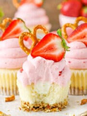 inside image of Strawberry Pretzel Salad Cupcakes