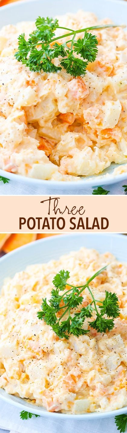 Three Potato Salad - made with sweet, russet and red potatoes! So easy and delicious!