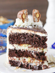 upright image of Almond Joy Layer Cake on plate
