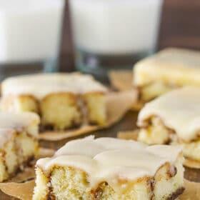 slice of Cinnamon Roll Snack Cake
