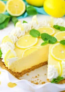 image of Lemon Mascarpone Cream Pie with slice removed