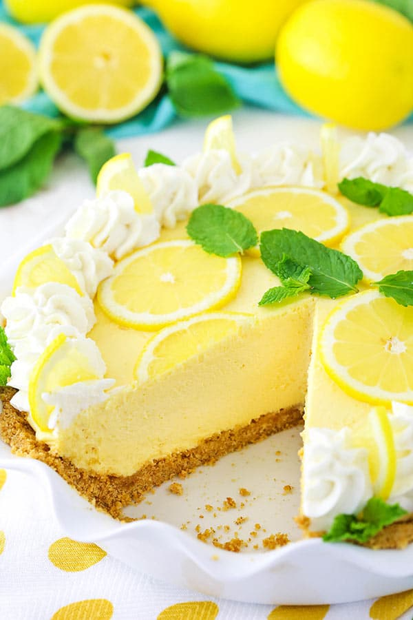 image of Lemon Mascarpone Cream Pie with slice removed