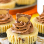 close up image of Mini Reeses Peanut Butter Cheesecakes