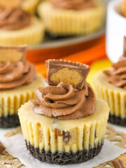 Mini Reeses Peanut Butter Cheesecakes - full of peanut butter and Reeses!
