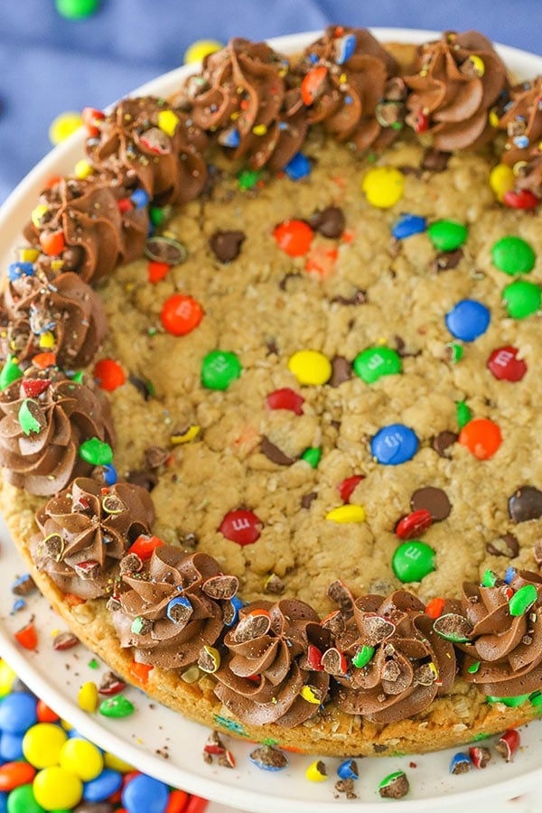 Monster Cookie Cake - full of M&Ms, chocolate chips, oats and peanut butter!