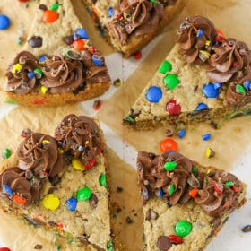 overhead image of Monster Cookie Cake slices