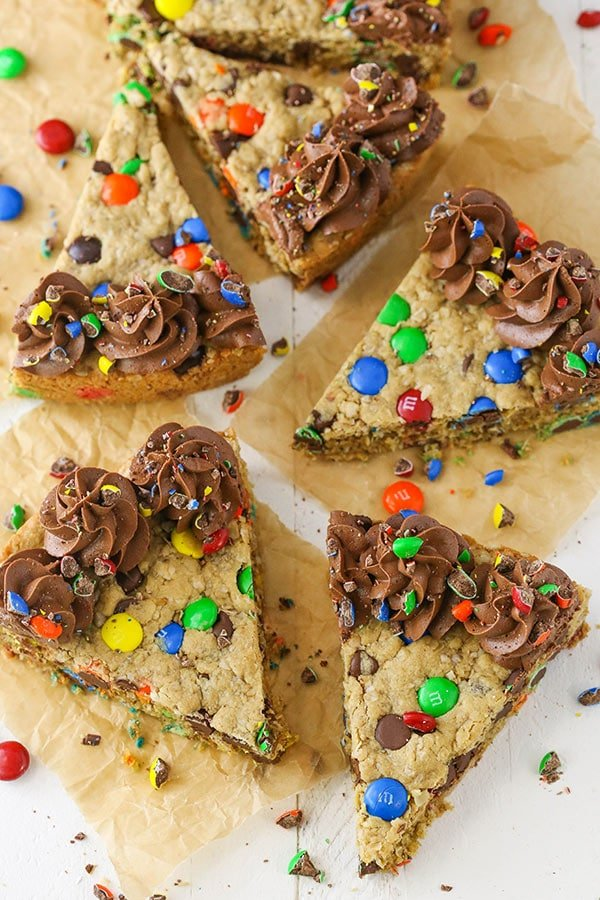 Monster Cookie Cake sliced overhead view