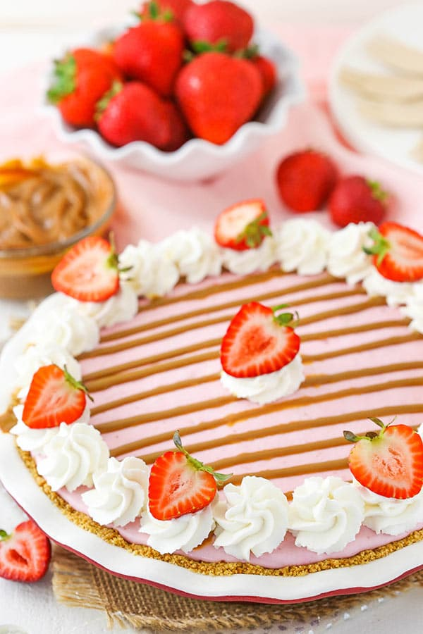 Image of a Decorated Strawberry Dulce De Leche Ice Cream Pie
