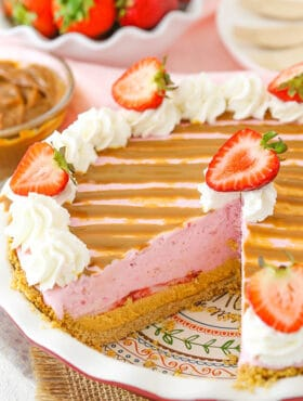 Image of Strawberry Dulce De Leche Ice Cream Pie with slice removed