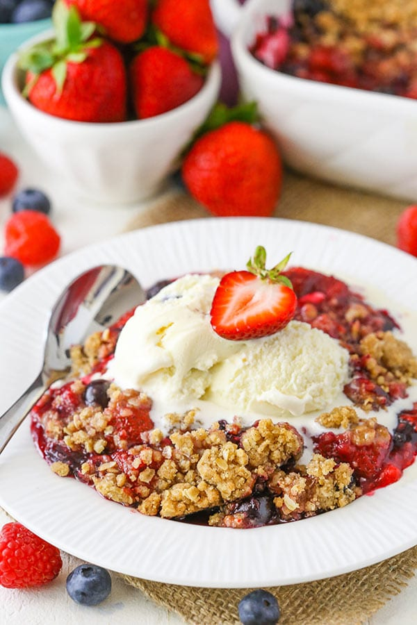 Triple Berry Crisp - easy to make and a great dessert for summer!