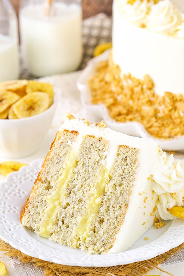 Banana Cream Layer Cake - moist banana cake layers filled with fresh vanilla pastry cream! Love it!