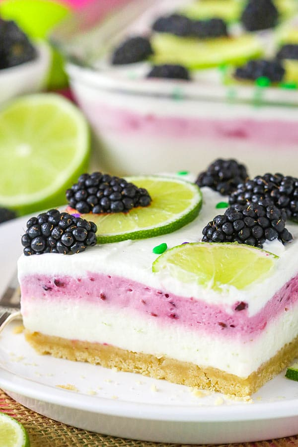 Blackberry Lime Lush - no bake dessert with a shortbread crust, lime and blackberry layers! So good!